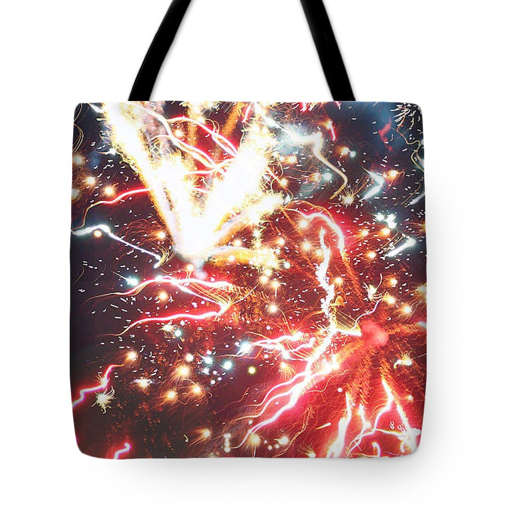 Red Tote Bag featuring the photograph Fire Confetti by Lindsay Warren