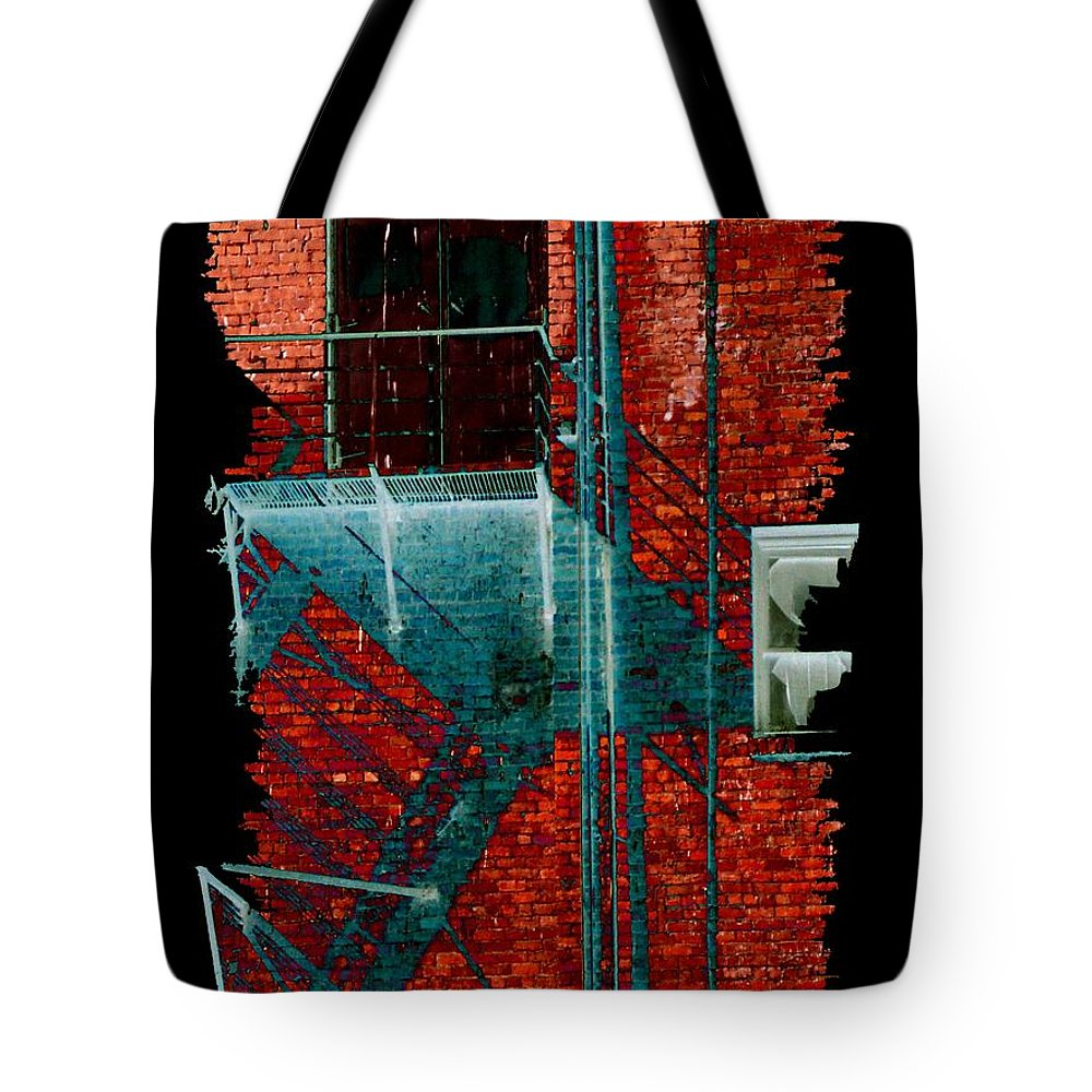 Fire Escape Tote Bag featuring the digital art Fire Escape 7 by Tim Allen