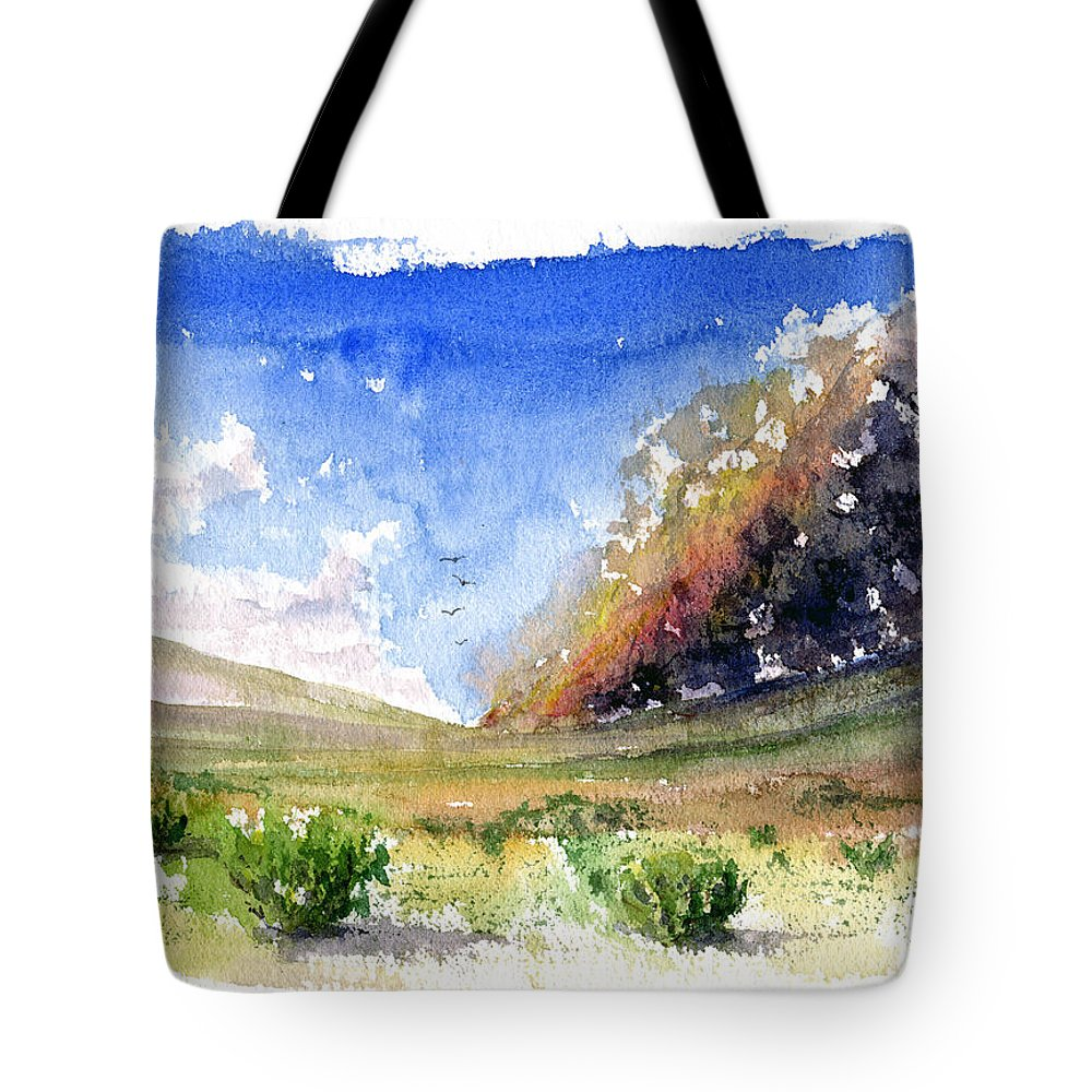 Fire Tote Bag featuring the painting Fire In The Desert 1 by John D Benson