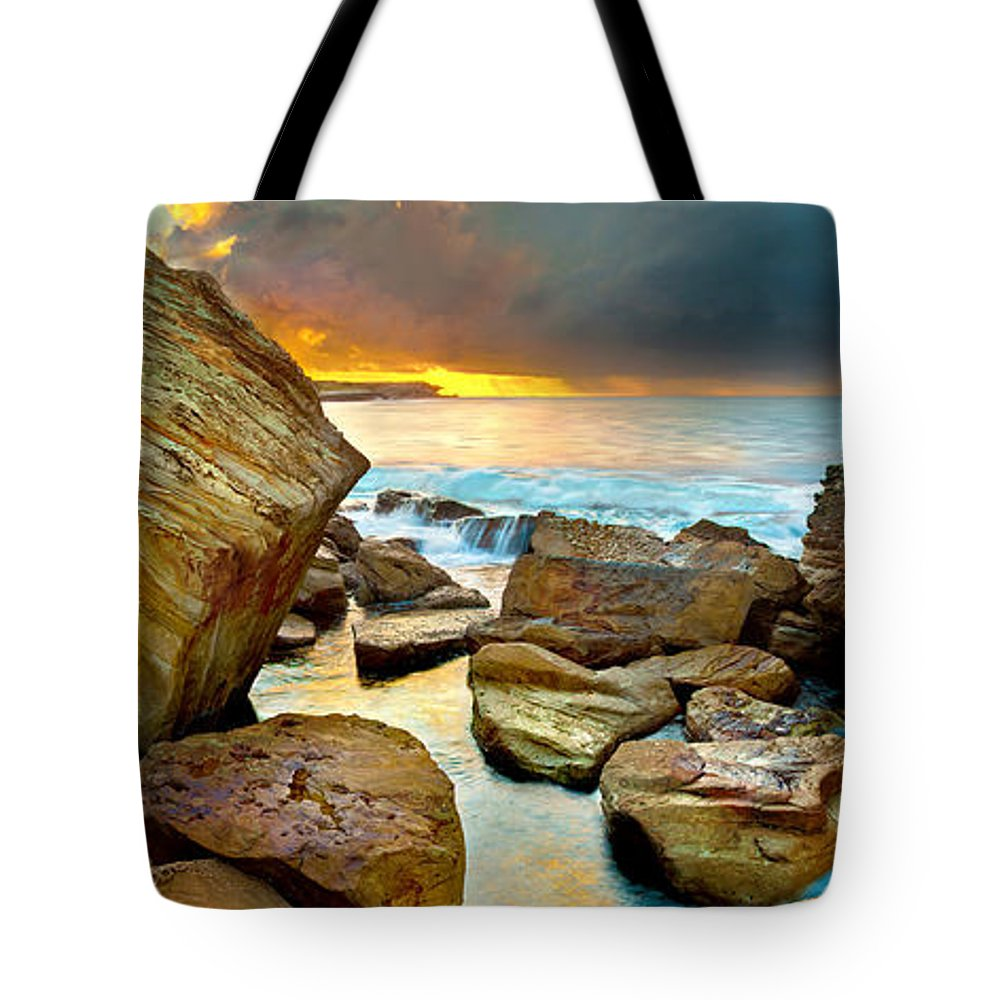 Landscape Tote Bag featuring the photograph Fire In The Sky by Az Jackson