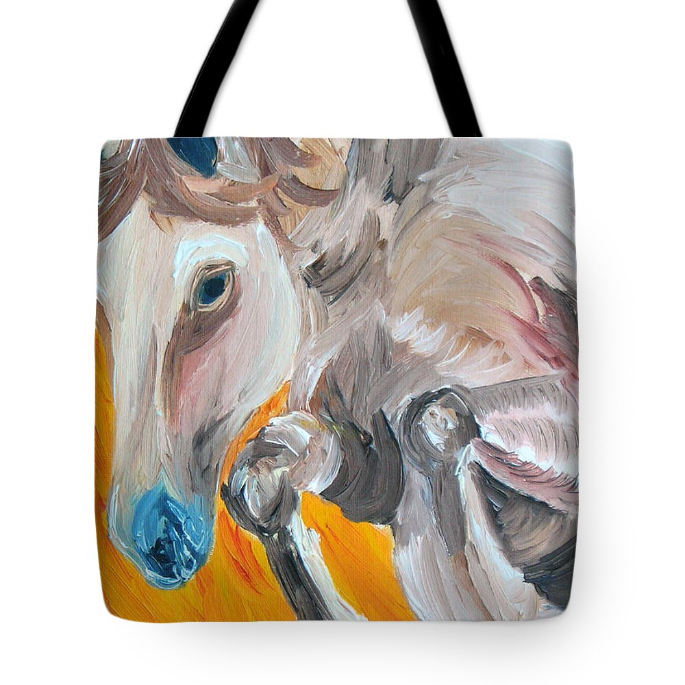 Horses Tote Bag featuring the painting Fire Jumper by Michael Lee