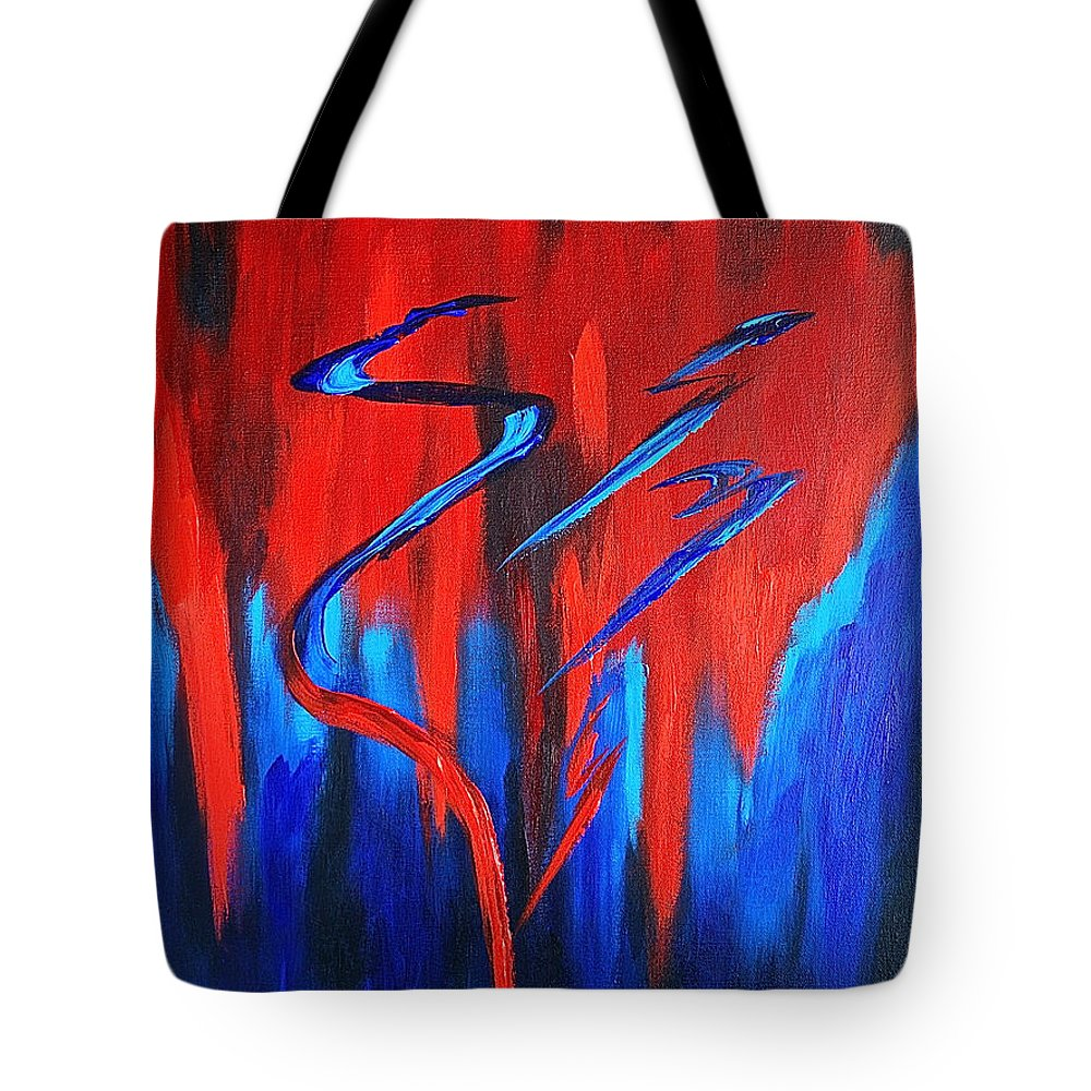 Abstract / Sexy Red And Blue By Herschel Fall Tote Bag featuring the painting Fire Lake by Herschel Fall