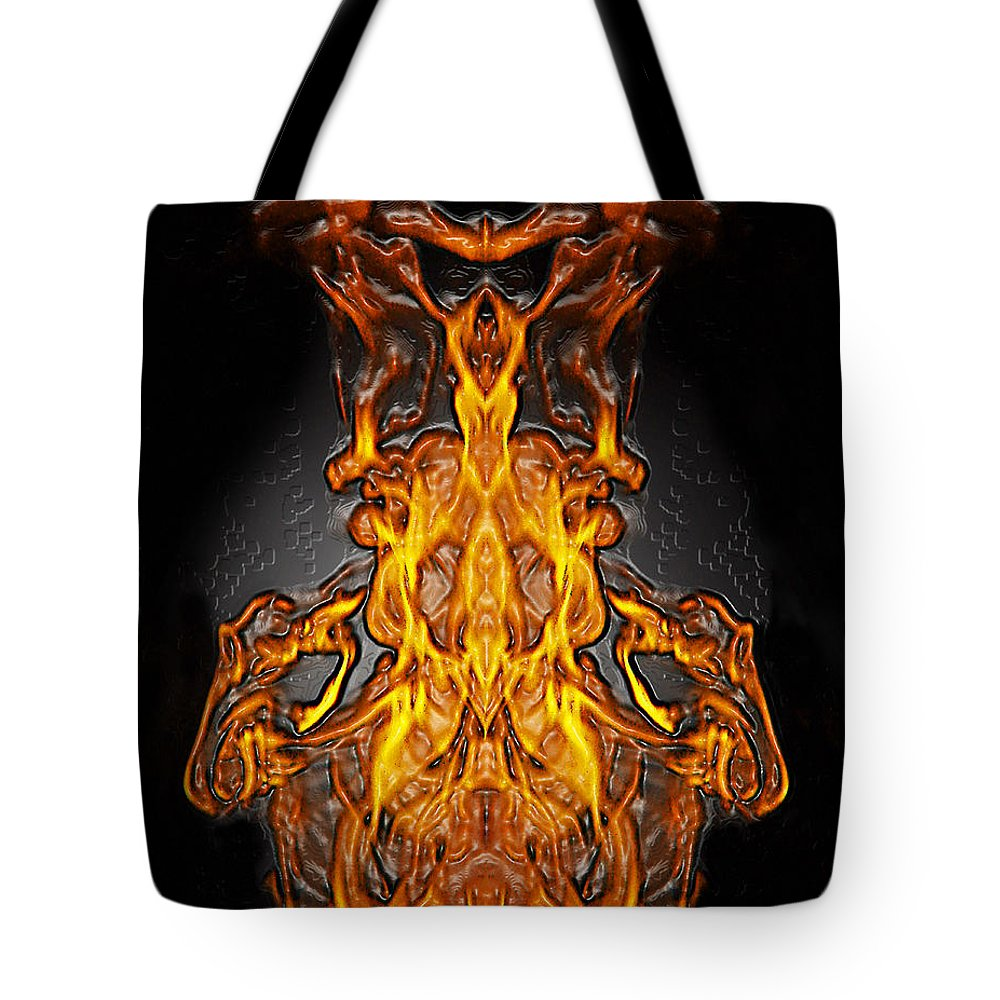 Devil Tote Bag featuring the photograph Fire Leather by Peter Piatt