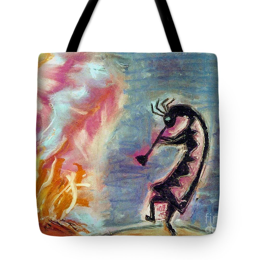 Fire Tote Bag featuring the painting Fire Light by Susan Hendrich