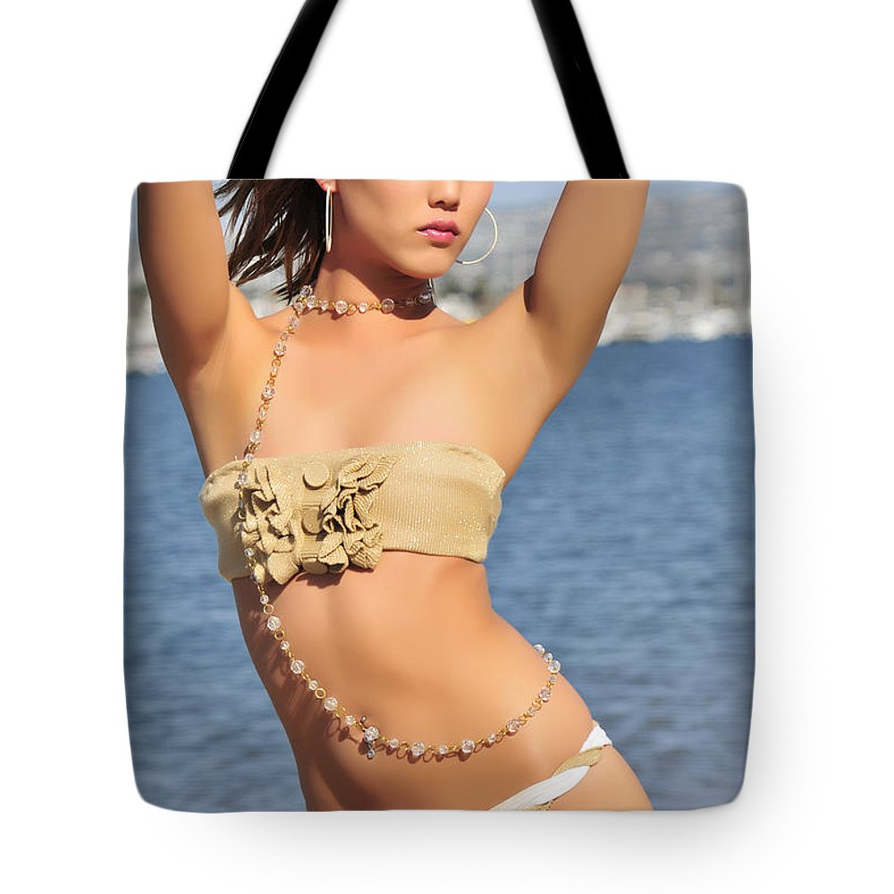 Glamour Photographs Tote Bag featuring the photograph Fire On The Beach by Robert WK Clark