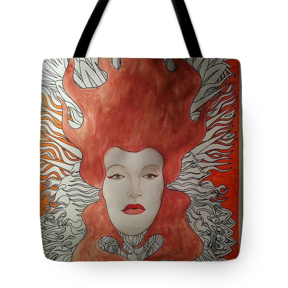 Tote Bag featuring the mixed media Fire by Rafael Colon