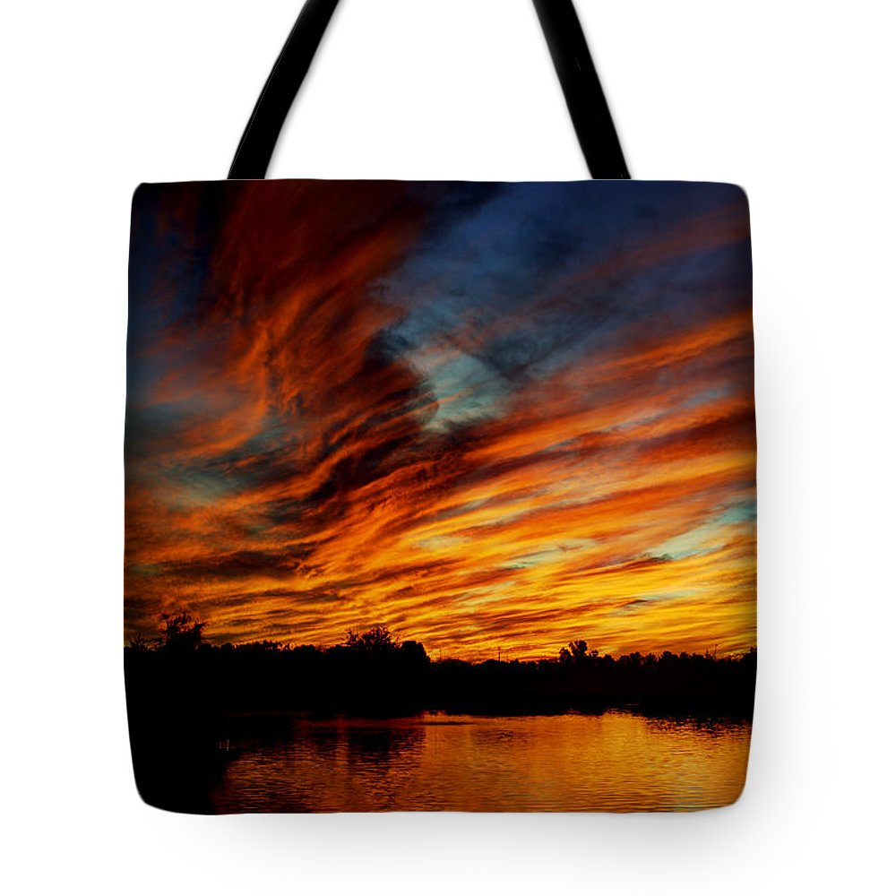 Sunset Tote Bag featuring the photograph Fire Sky by Saija Lehtonen