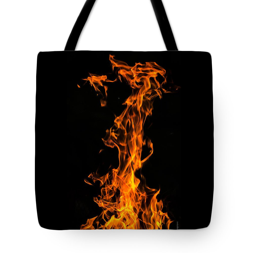 Fire Abstract Tote Bag featuring the digital art Fire Tower by Mark Stephens