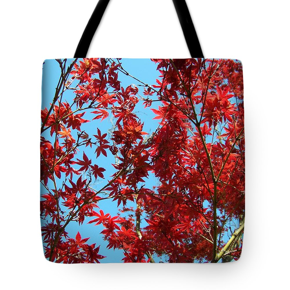 Red Tote Bag featuring the photograph Fire Tree II by Jai Johnson