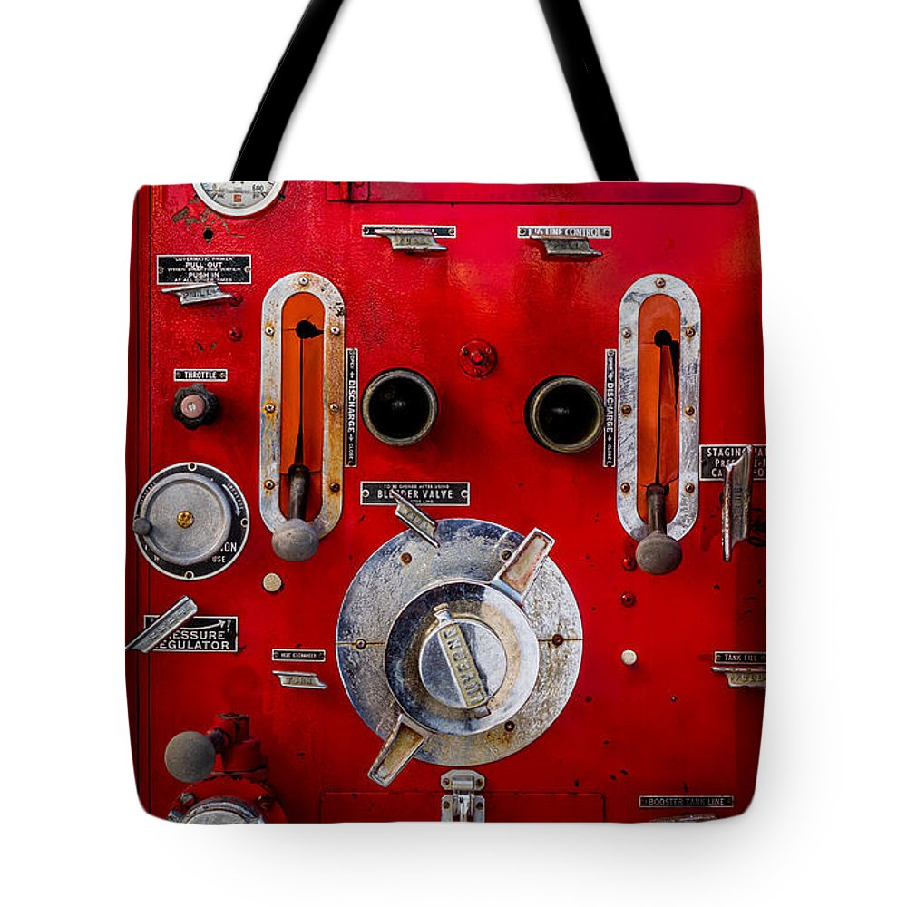 Fire Truck Tote Bag featuring the photograph Firetruck Auxiliary Pump Controls by TL Mair