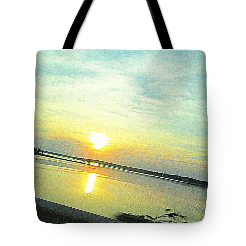 Sunset Tote Bag featuring the photograph Fireball by Hayley Allard
