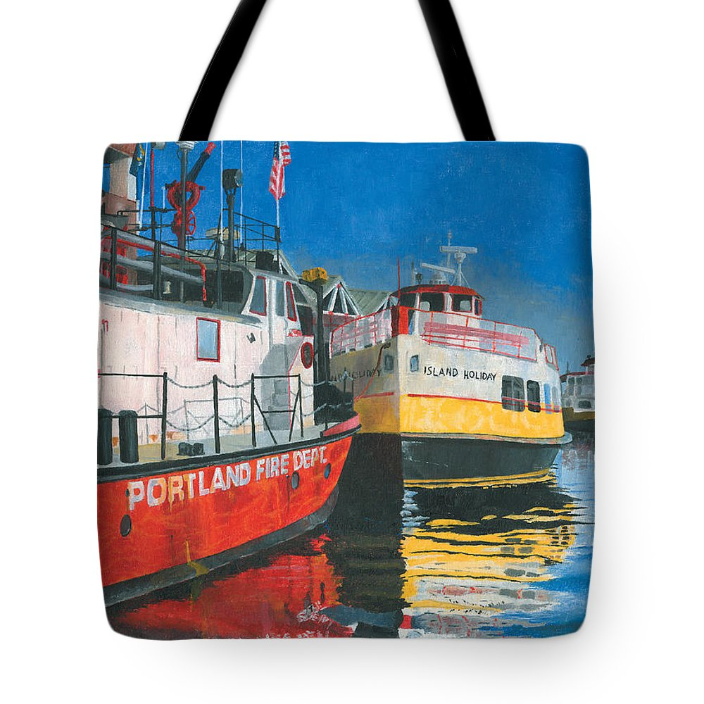Fireboat Tote Bag featuring the painting Fireboat And Ferries by Dominic White