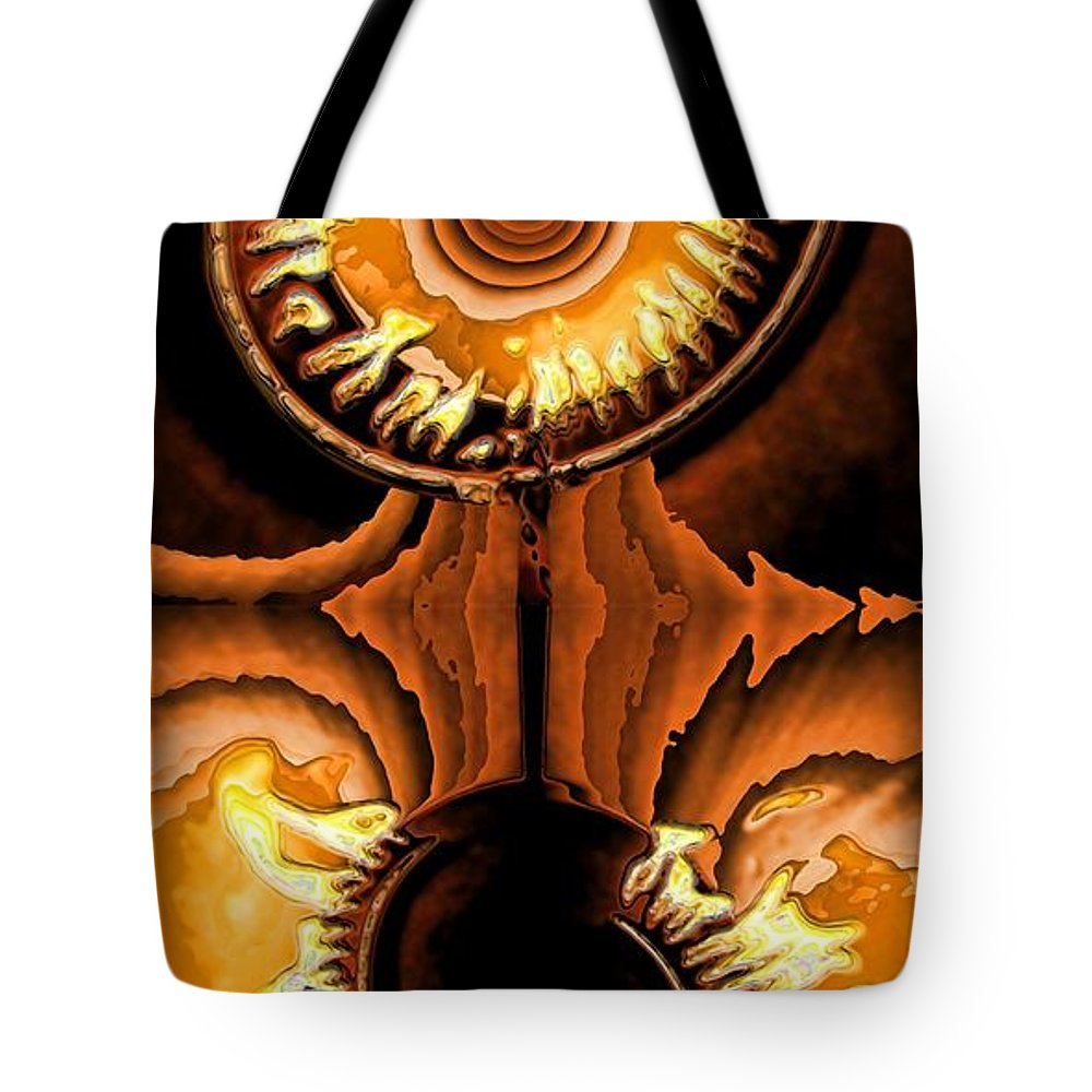 Collage Tote Bag featuring the digital art Fired Up by Ron Bissett