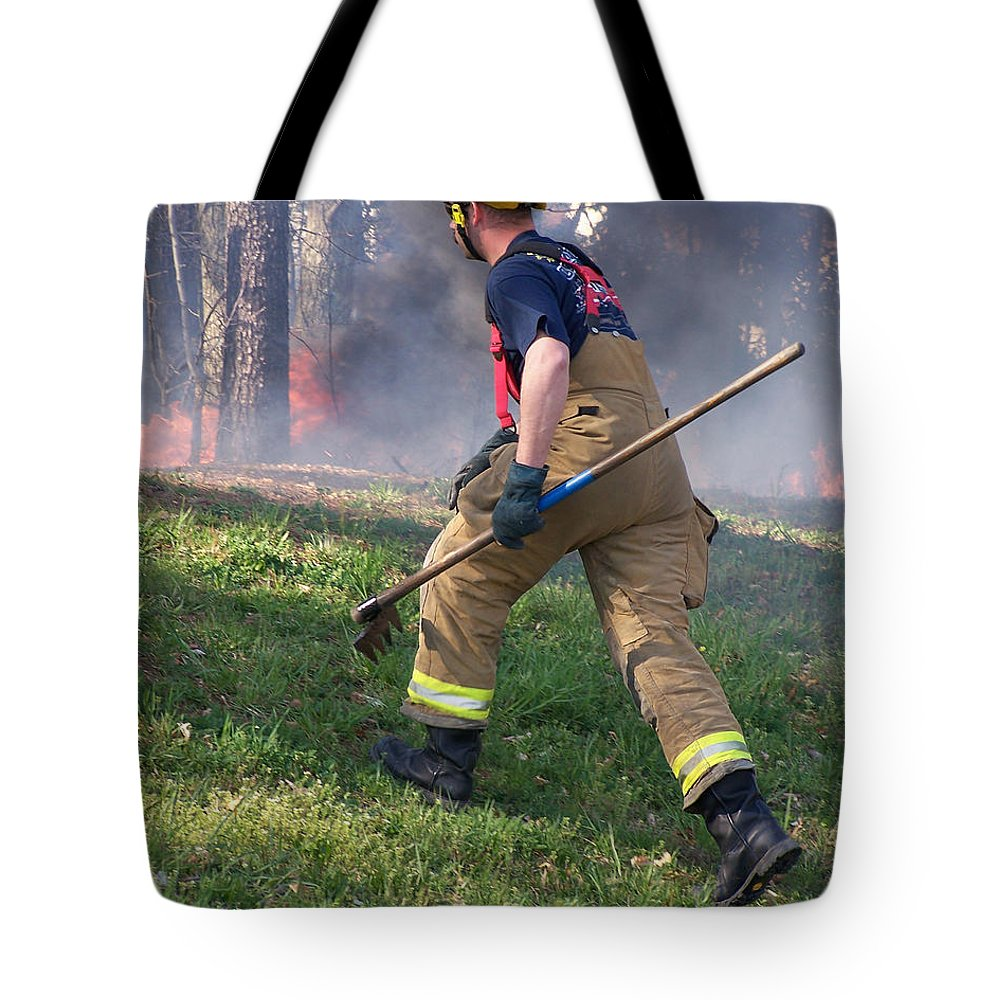 Fire Tote Bag featuring the photograph Firefighter 2901 by Francesa Miller