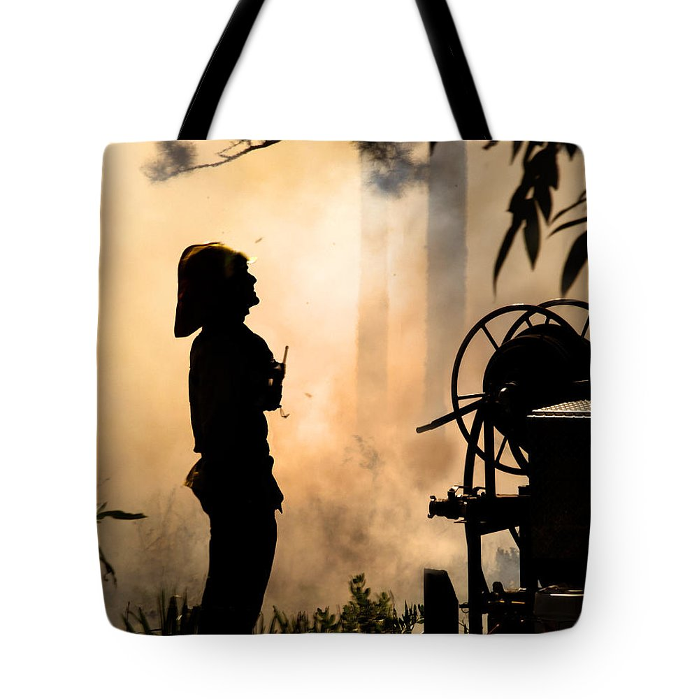 Fire Tote Bag featuring the photograph Firefighter 4473 by Francesa Miller