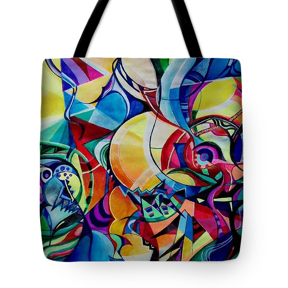 Emil Chakalov Firefly Gypsy Swing Acrylic Abstract Pens Paper Tote Bag featuring the painting Firefly by Wolfgang Schweizer