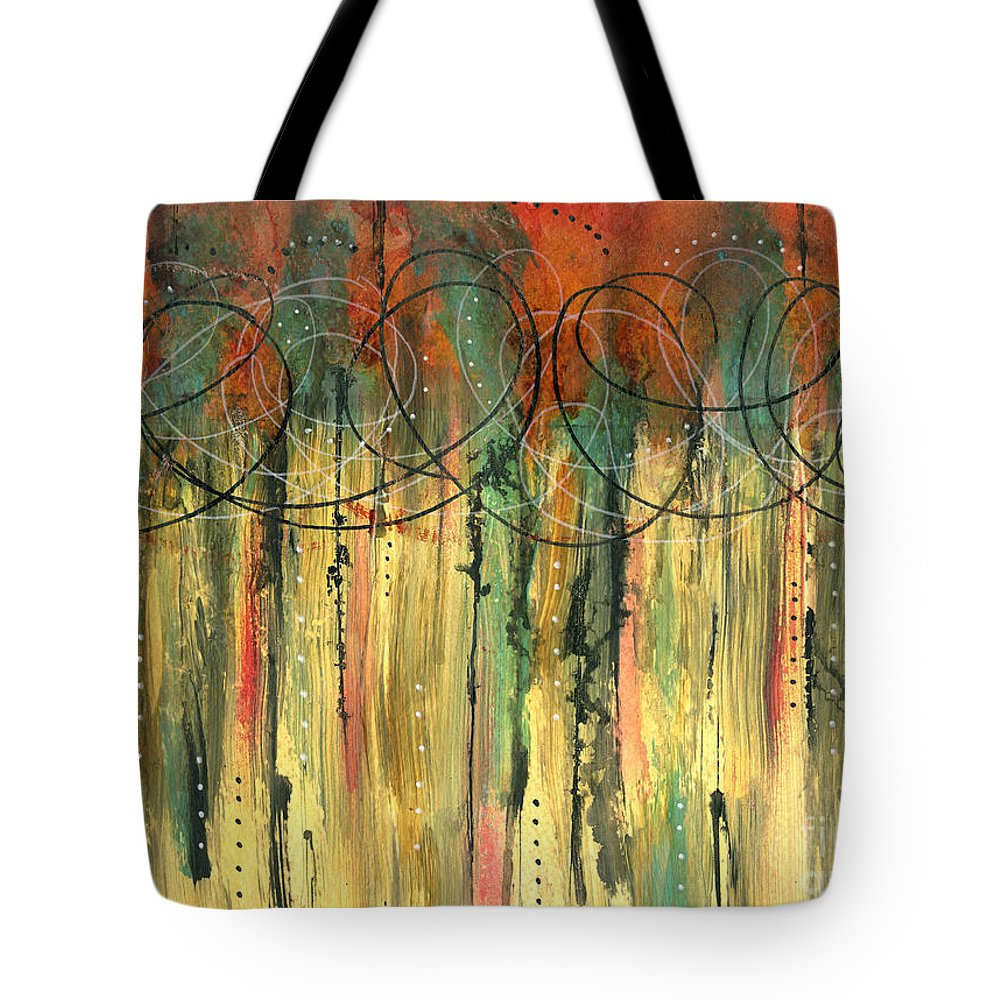 Mixed Media Tote Bag featuring the mixed media Firefly's Dance by Cyndi Lavin