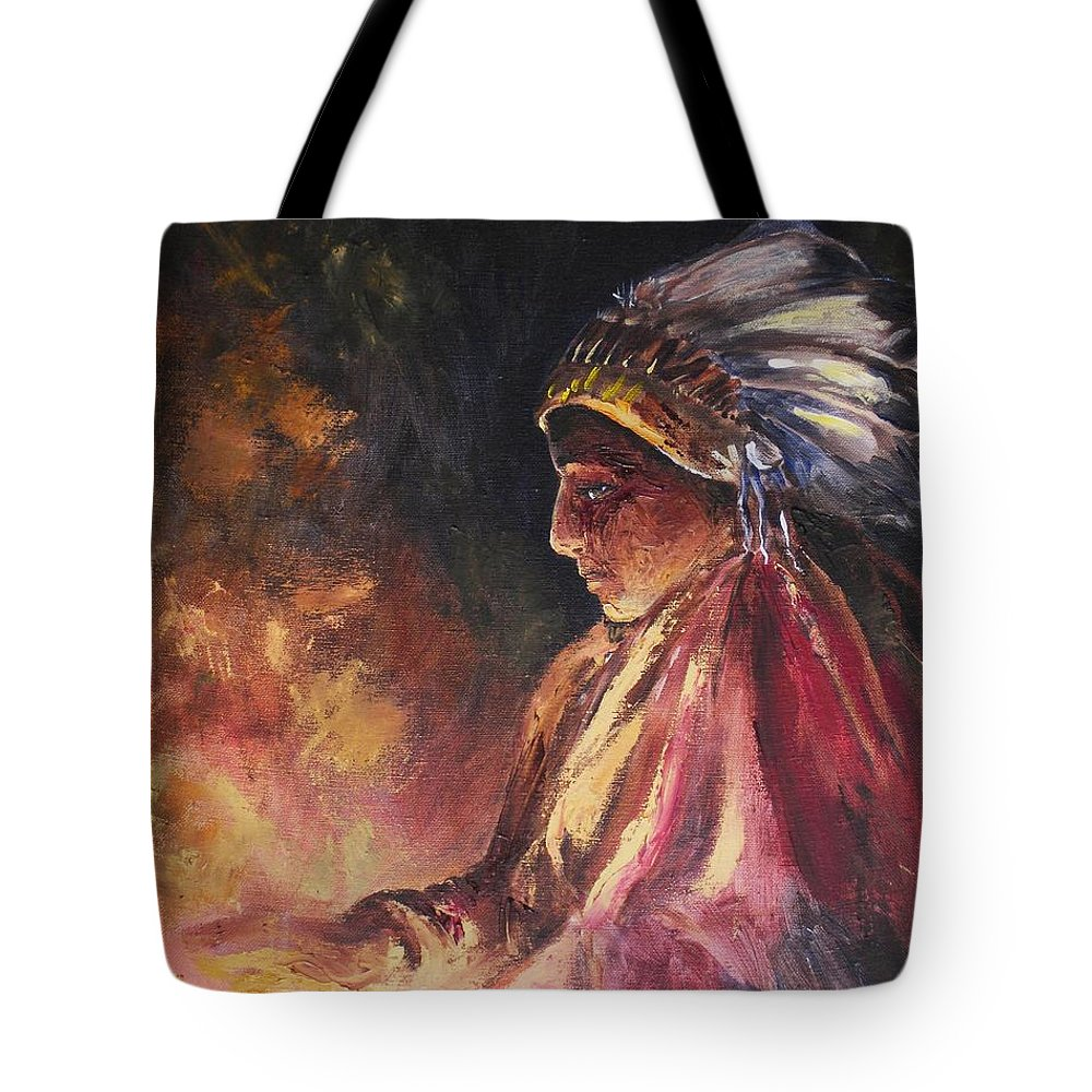 Indian Tote Bag featuring the painting Firehandler by Jun Jamosmos