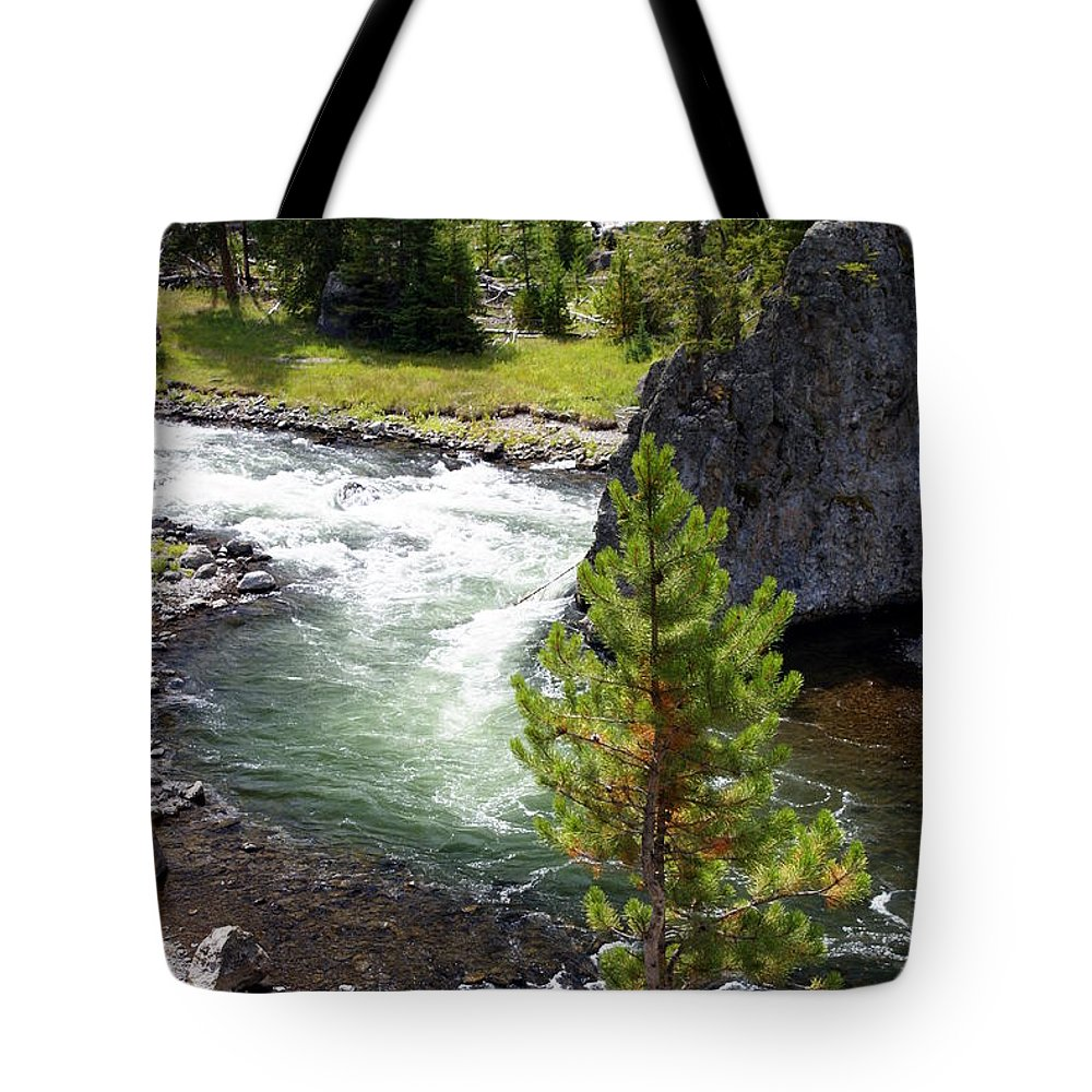 Yellowstone National Park Tote Bag featuring the photograph Firehole Fin by Marty Koch