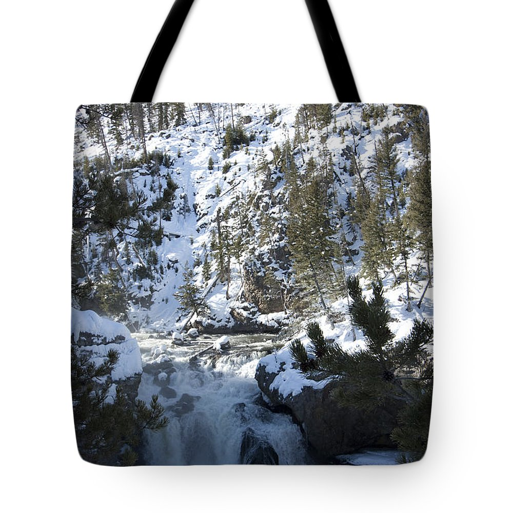 Landscape Tote Bag featuring the photograph Firehole River Falls by Mary Haber