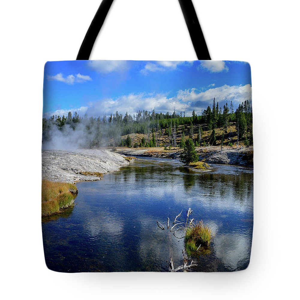 Yellowstone Tote Bag featuring the photograph Firehole River Yellowstone by Marilyn Burton