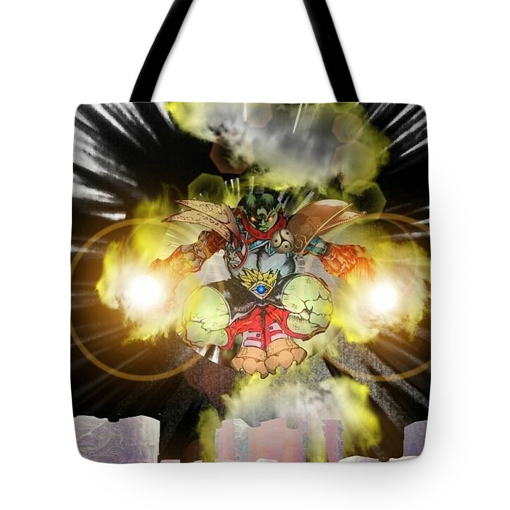 Fantasy Landscape Tote Bag featuring the drawing Firelord by Louis Williams