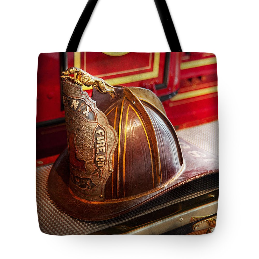 Hdr Tote Bag featuring the photograph Fireman - Hat - Commander by Mike Savad