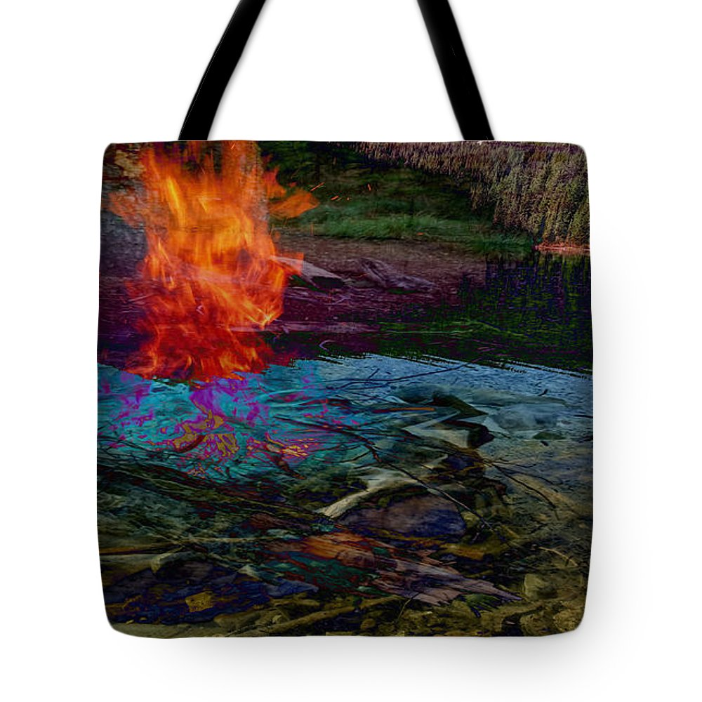 Tree Tote Bag featuring the digital art Firenwater by Laura Kaschmitter