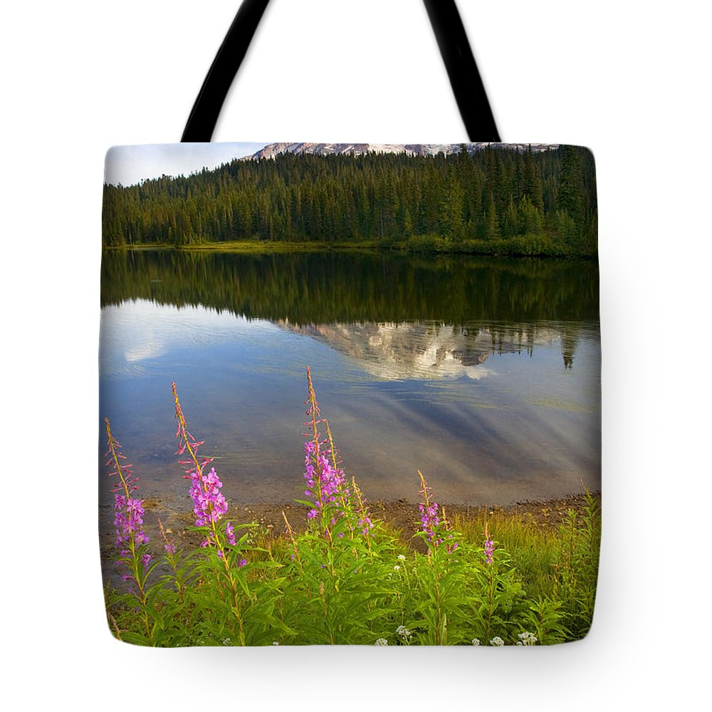 Fireweed Tote Bag featuring the photograph Fireweed Reflections by Mike Dawson