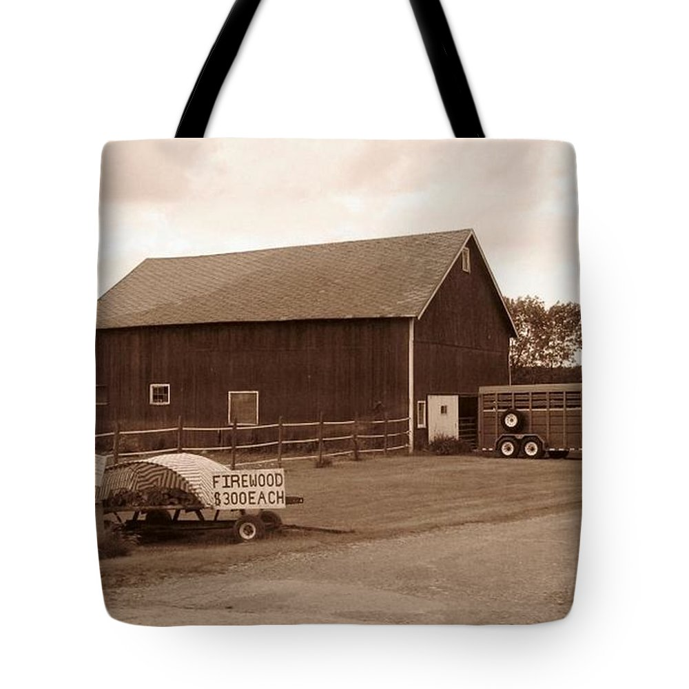 Barn Tote Bag featuring the photograph Firewood For Sale by Rhonda Barrett