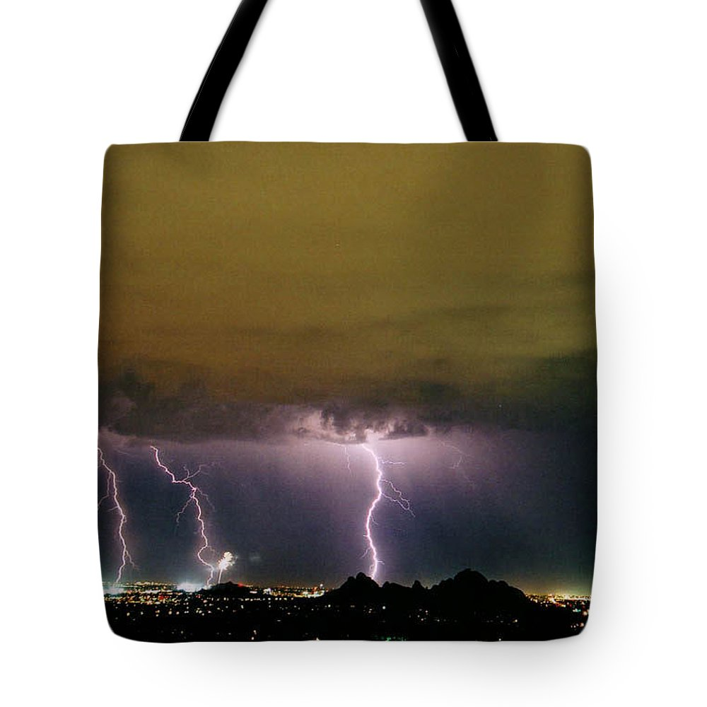 Lightning Tote Bag featuring the photograph Fireworks 1 by Cathy Franklin
