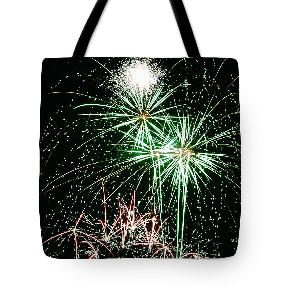 Fireworks Tote Bag featuring the photograph Fireworks 4 by Michael Peychich