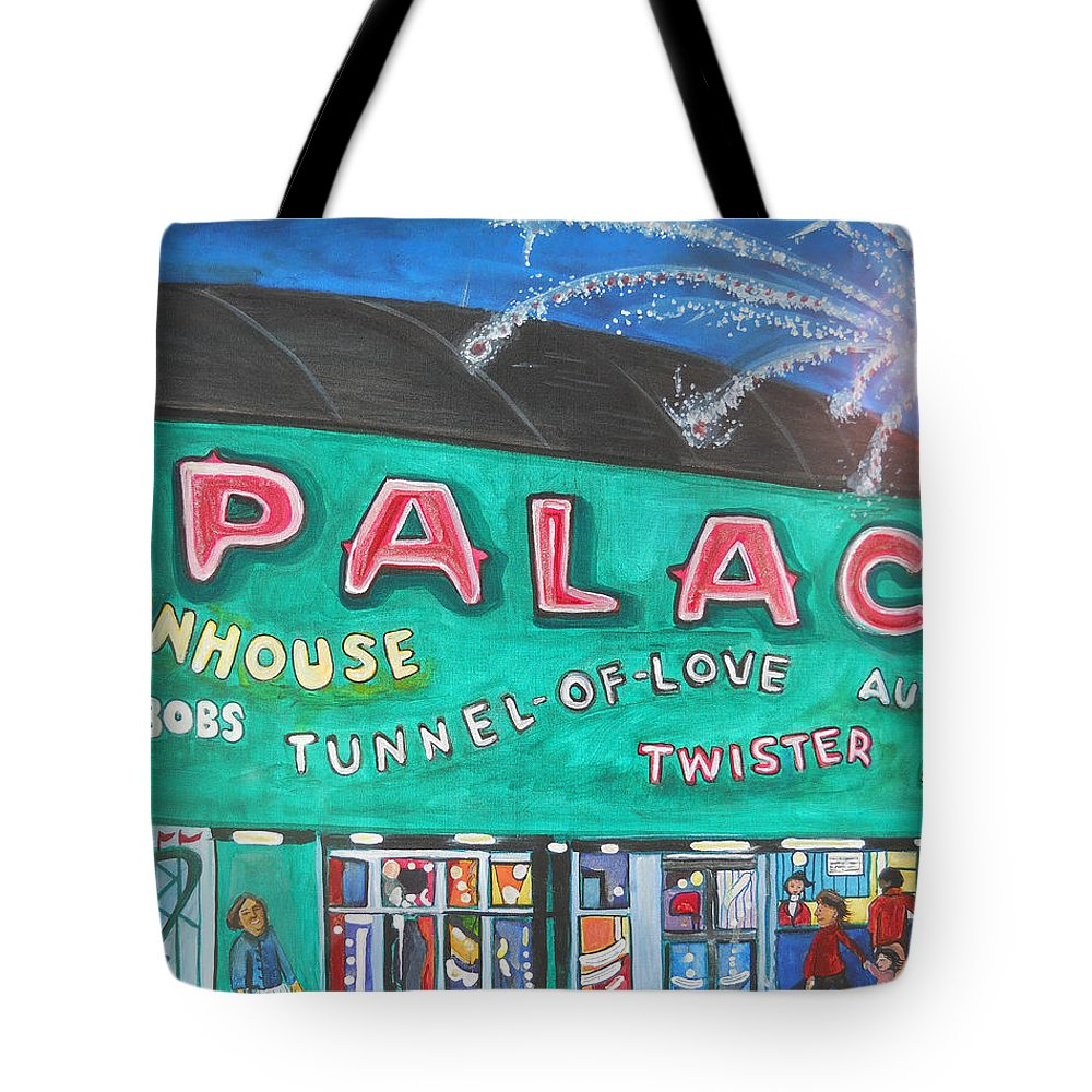 Asbury Park Art Tote Bag featuring the painting Fireworks At The Palace by Patricia Arroyo