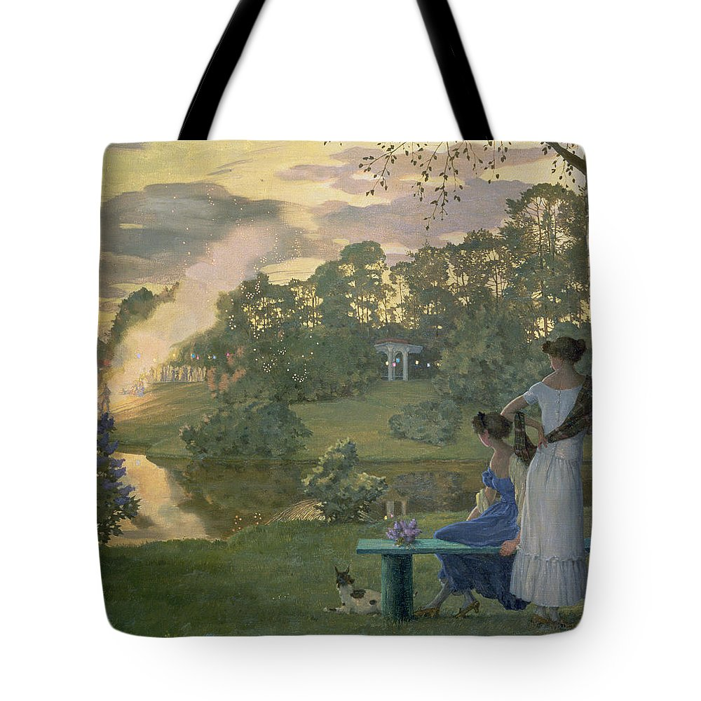 Fireworks Tote Bag featuring the painting Fireworks by Konstantin Andreevic Somov