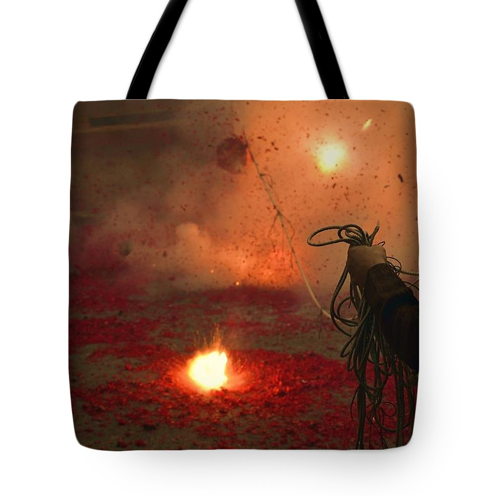 Fireworks Tote Bag featuring the photograph Fireworks Lion Dance 141 by Remegio Dalisay