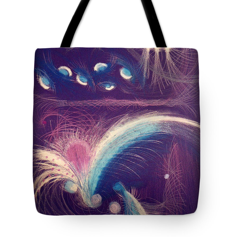 Abstract Tote Bag featuring the mixed media Fireworks by Steve Karol