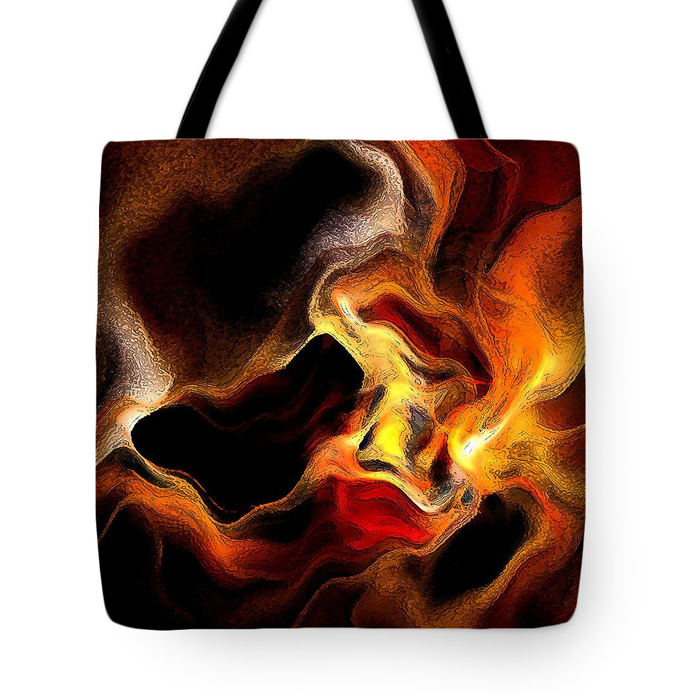 Abstract Tote Bag featuring the digital art Firey by Ruth Palmer