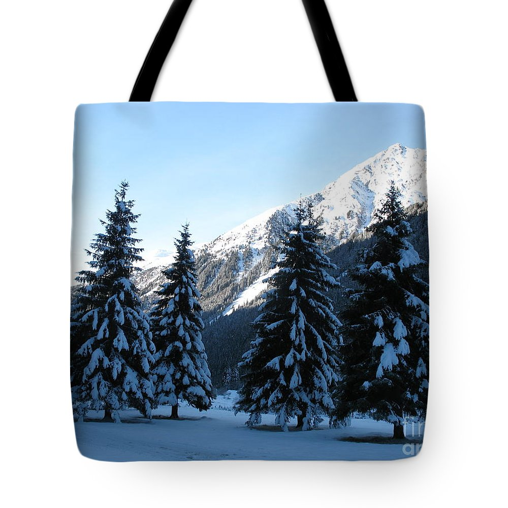 Tree Tote Bag featuring the photograph Firs In The Snow by Christiane Schulze Art And Photography