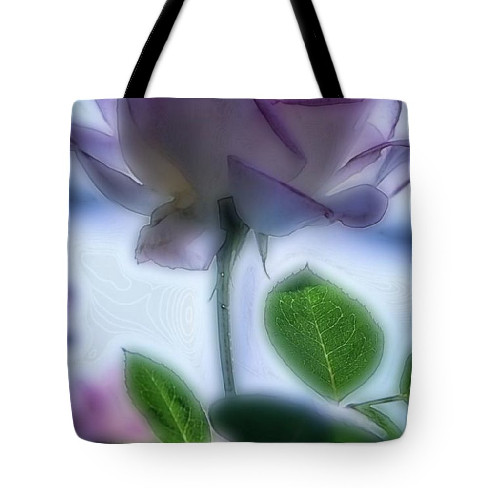 Floral Tote Bag featuring the digital art First Blush by Ellen Cannon