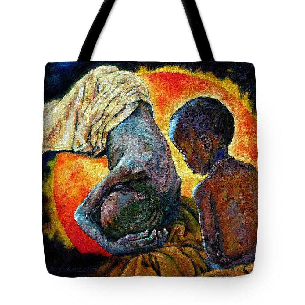 Starvation Tote Bag featuring the painting First Corinthians 1-25 by John Lautermilch
