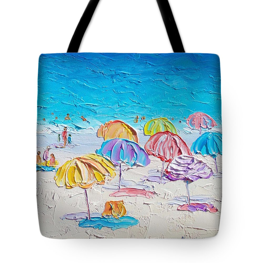 Beach Tote Bag featuring the painting First Day Of Summer by Jan Matson
