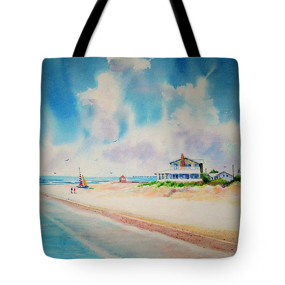 Beach Tote Bag featuring the painting First Day Of Vacation Is Pricless by Tom Harris