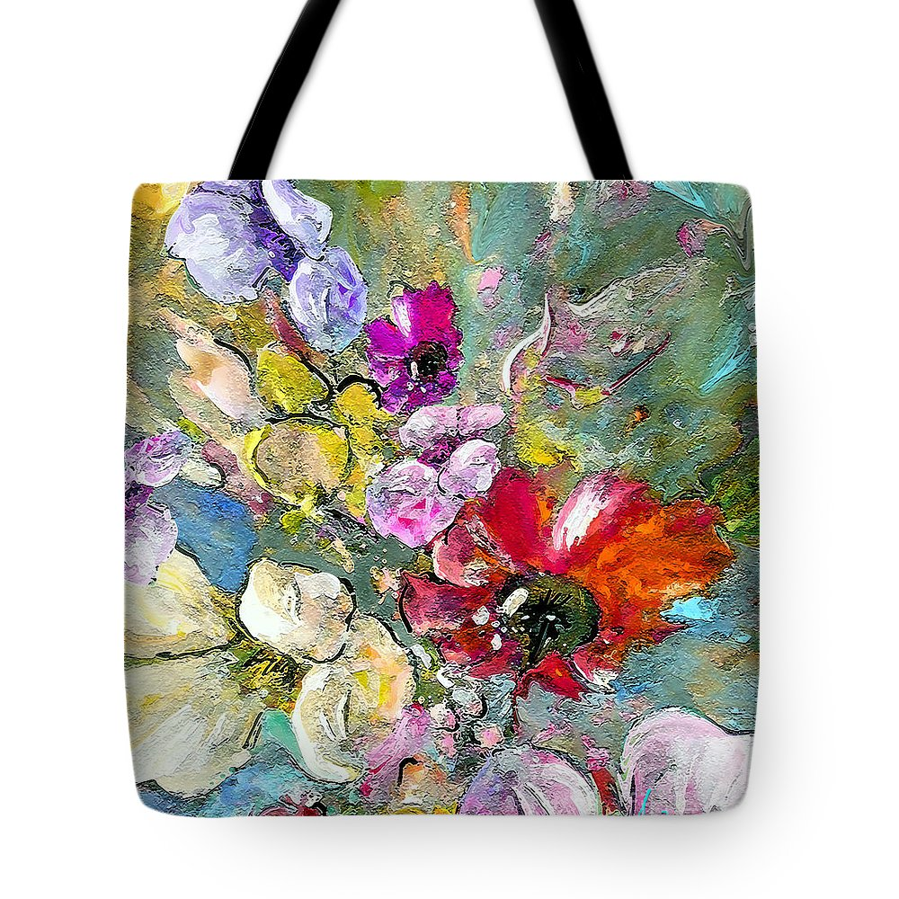 Nature Painting Tote Bag featuring the painting First Flowers by Miki De Goodaboom