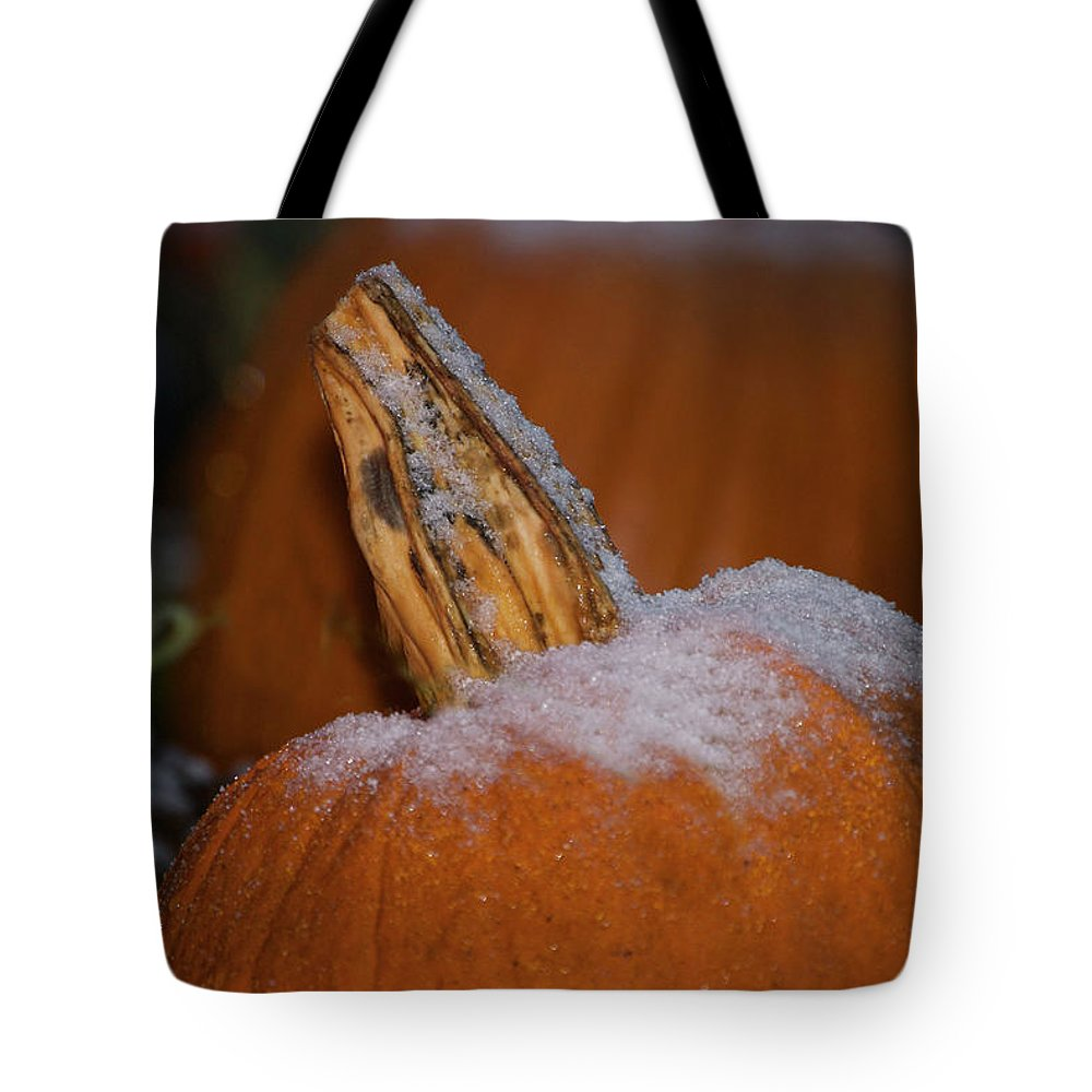 Pumpkin Print Tote Bag featuring the photograph First Frost by Deborah M Rinaldi