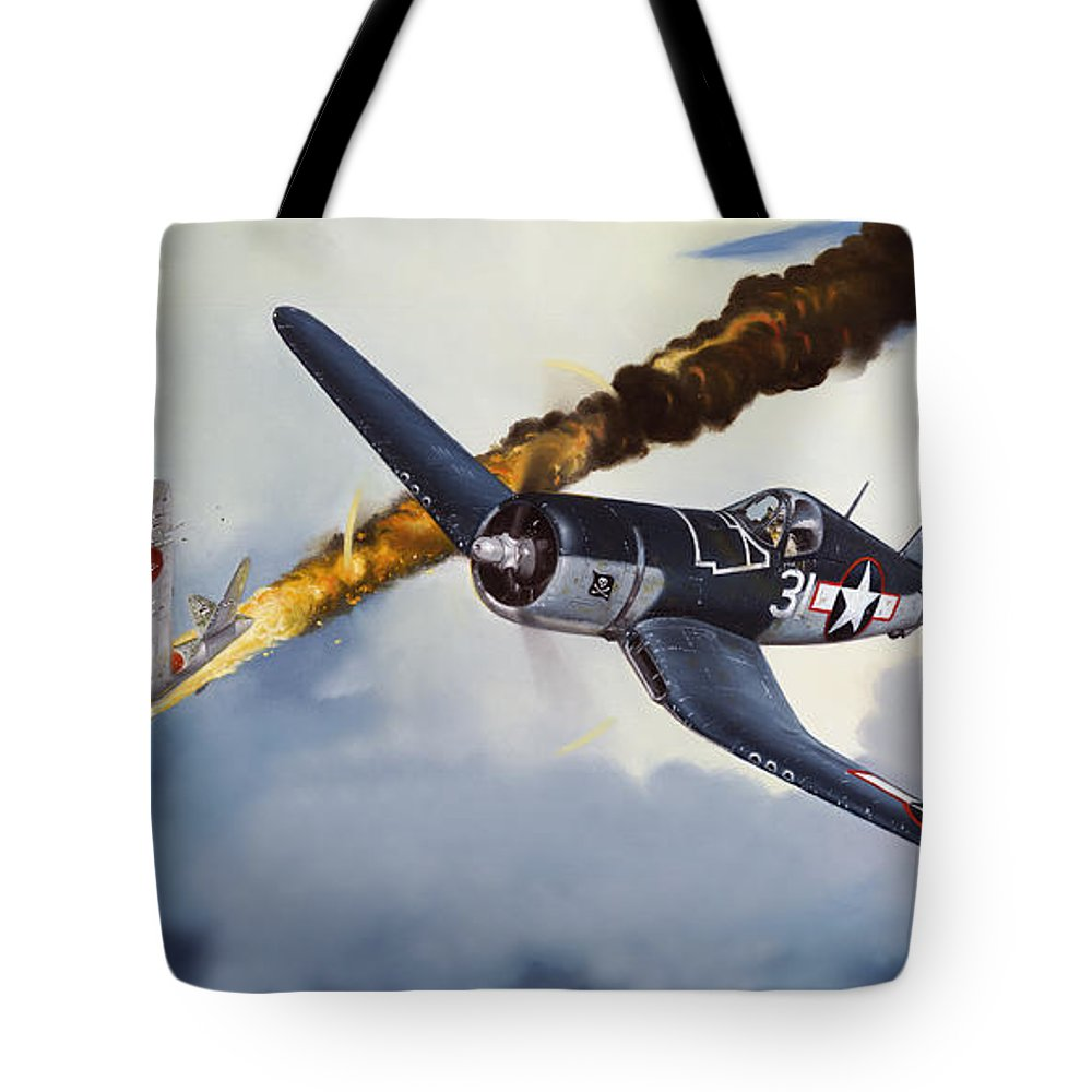 Military Tote Bag featuring the painting First Kill For The Jolly Rogers by Marc Stewart
