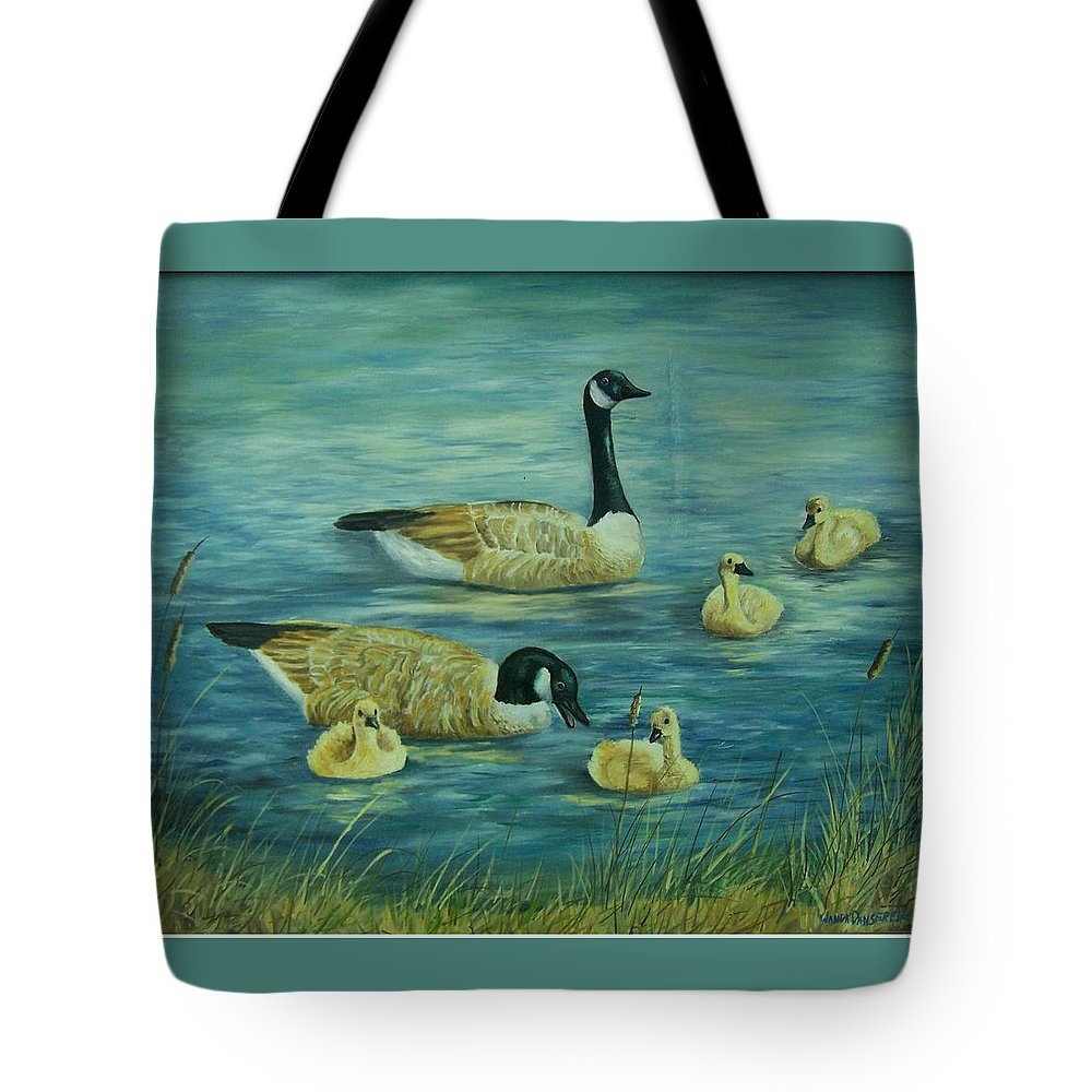 A Pair Of Mallards Tote Bag featuring the painting First Lesson by Wanda Dansereau