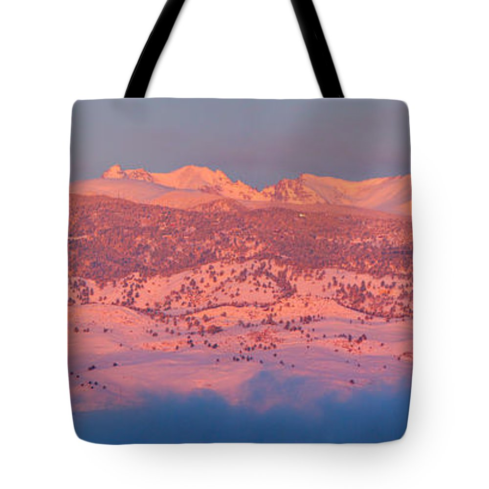 Colorado Tote Bag featuring the photograph First Light Colorado Rocky Mountains Panorama by James BO Insogna