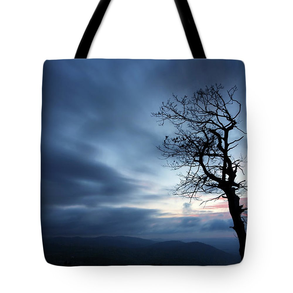 Blue Ridge Parkway Tote Bag featuring the photograph First Light by Darren Fisher