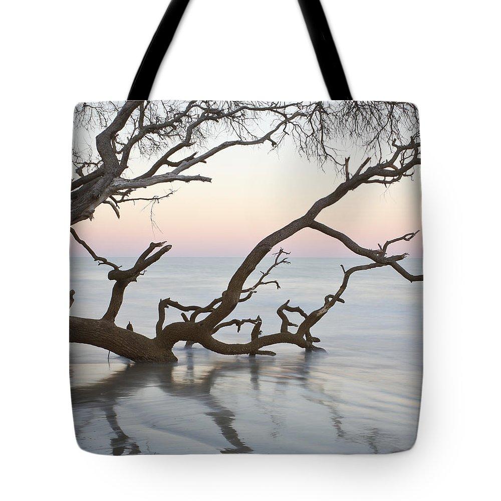 Sunrise Tote Bag featuring the photograph First Light - Hunting Island South Carolina by Bill Swindaman