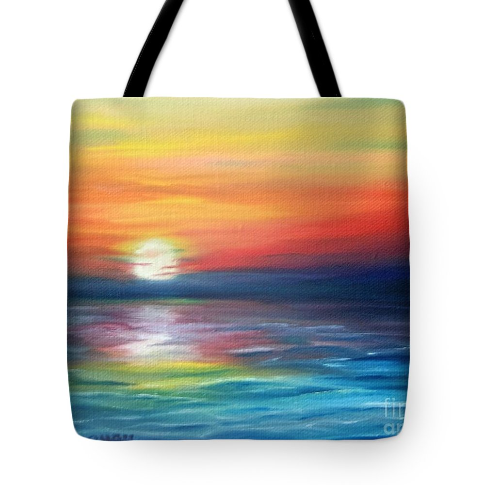 Sunrise Tote Bag featuring the painting First Light by Lora Duguay
